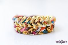 Hex nut & colorful fabric wrapped bracelet by TINNLILY
