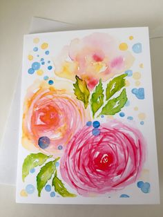 Whimsical loose watercolour florals greeting card and matching gift tag. Celebration of spring! Watercolor Cards, Floral Watercolor, Watercolour, Matching Gifts, Sell On Etsy, White Envelopes, I Card, Gift Tags, Florals