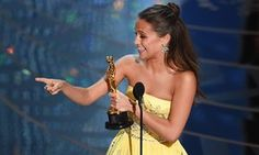 Alicia Vikander accepts the Best Supporting Actress award for The Danish Girl