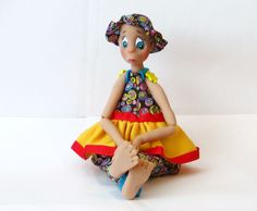 Doll Art Handmade Ooak Polymer Clay and Cloth