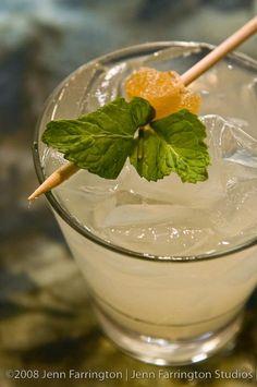 This drink is called ginger bitch-Ingredients:  1.5 oz. Domaine de Canton French Ginger Liqueur  0.5 oz. Grey Goose Le Citron  2 oz. fresh lemonade  5 mint leaves  1 lemon slice  2 candied ginger slices  1 piece candied ginger on a stick  1 loose mint leaf