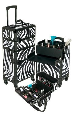 Pro Aluminum Makeup Case Zebra 4 Wheeled Spinner, only $169.95 plus free shipping! #makeup