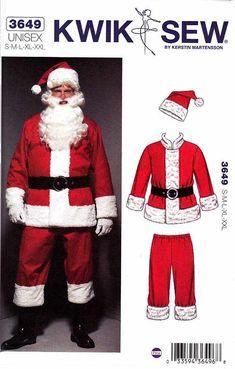 "Kwik Sew Sewing Pattern 3649 Unisex size S-XXL (chest 36-48"") Santa Suit Costume"
