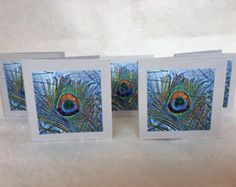 Peacock Feather Gift Cards, Bedazzled Set of 5. Weddings Showers, Perfect for Lovers of these Exotic Birds. Paon Pavo Real Pavone Laksmi -    Edit Listing  - Etsy
