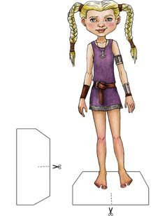 Example of Thyra Danebod doll from Vikings of Legend and Lore Paper Dolls Book by Kiri Østergaard Leonard.