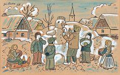 LadaJosef (1887–1957) | Stavění sněhuláků, 1937 | akvarel, kvaš, lepenka, 25 x 38 cm European Countries, Children's Book Illustration, Czech Republic, Childrens Books, The Past, December, Paintings, Comics, Winter