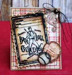 A Masculine card using Crafty Secret's Play Ball set and Tim Holtz Distress Markers.