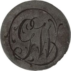 """George Washington pewter Inaugural Button engraved with initials """"GW"""".  (3/4 inch).  *s*"""