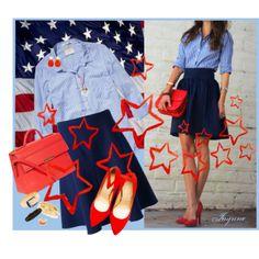 """'In Honor'"" by ladyjaynne on Polyvore #redwhiteblue #patriotic #memorialday #stars #stripes #red #pumps #handbag #goldjewelry #skirt"