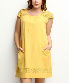 Look at this Zer Otantik Yellow Crochet Pocket Shift Dress - Plus on today! Crochet Clothes, Day Dresses, That Look, Sexy, Dress Up, Tunic Tops, Pocket, Yellow, My Style