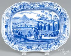 Blue Staffordshire ''Ruins of an Ancient Temple Near Corinth'' platter, 19th c., impressed Spode, 9 - Price Estimate: $60 - $90