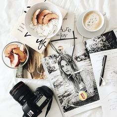 Flatlay with vogue, canon and coffee VSCO A6