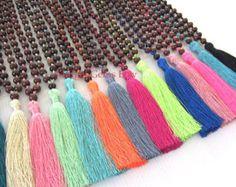 VENTA borla collar Mala hecha a mano con cuentas collar oración perlas borla collar Yoga joyería, regalos, mejor amigo, cumpleaños, joyería por mayor