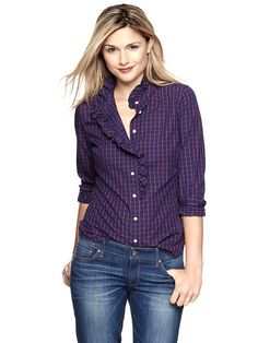 Gap | Fitted boyfriend ruffle shirt