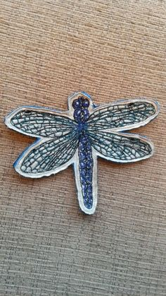 Dragonfly Brooch / Badge. Textile Art created using Free motion embroidery. Inspired by British wildlife, Insects and Summer time.