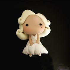 Marilyn Monroe Fan Art: Polymer Clay Doll ClunkyCrafts.com