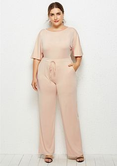 Beige Plus Size Short Flutter Sleeve Wide Leg Going Out Jumpsuit - The top trends to try in 2019 Plus Size Jumpsuit, Plus Size Shorts, Casual Tie, Flutter Sleeve, Jumpsuits For Women, Going Out, Jumpsuit Style, Casual Jumpsuit, Wide Leg