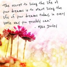 """""""The secret to living the life of your dreams is to start living the life of your dreams today, in every little way you possibly can"""" ~ Mike Dooley"""