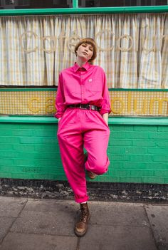 'Frankie' Oversized Organic Boilersuit in Hot Pink Ethical Clothing, Ethical Fashion, Pink Jumpsuit, Jumpsuit Style, Shell Suit, Suits For Sale, Boiler Suit, Blue Jumpsuits, Fasion