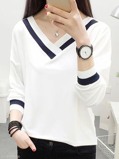 Autumn Spring Summer Polyester Women V-Neck Contrast Piping Plain Long Sleeve T-Shirts - Fashion Style Plain Shirts, Polo T Shirts, Shirt Blouses, Blouse Styles, Blouse Designs, Casual Skirt Outfits, Family Shirts, Long Sleeve Shirts, Long Shirts