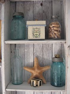 decorating bookshelves neutral coastal - Google Search