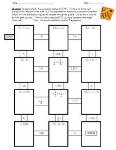 7th Grade Math Common Core: Simplifying Rational Expressions Maze ...