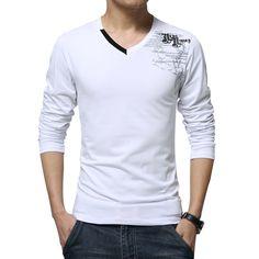 Tシャツ男性ロング スリーブ新しい ファッション 2016 プリント春メンズ ブランド服カジュアル スリム v ネック コットン tシャツ オム tシャツ m-5xl