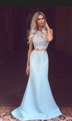 Light Blue Party Dresses Fishtail Prom Dresses Sleeveless