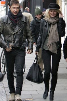 la modella mafia Kate Moss model off duty street style in a leather cap, motorcycle jacket and layers