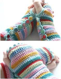 Free Crochet Fingerless Stripy Mitts Pattern - 54 Free Crochet Fingerless Gloves Pattern for Beginners - DIY & Crafts
