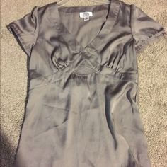Ann Taylor Loft short sleeve silky shirt Beautiful pewter color short sleeve top with a v-neck in a satin material. Very classy! Ann Taylor Tops Blouses