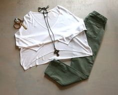 Wednesday Mani/Pedi Date with the Girls Soft White Oversized Dolman Shirt  by Kerisma $55 Army Green Ankle Pants by Seven For All Mankind $170  Leather Necklace with Cross  by iSObel $118 Assorted iSobel bracelets $46