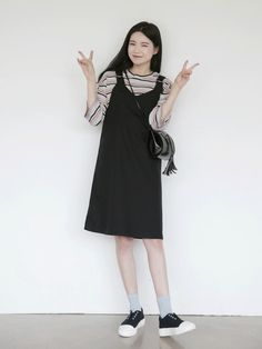 10's trendy style maker 66girls.us! Double D-Ring Pinafore Dress (DGOS) #66girls #kstyle #kfashion #koreanfashion #girlsfashion #teenagegirls #fashionablegirls #dailyoutfit #trendylook #globalshopping