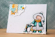 Elin here today, with a card that& a little bit late - but better late than never, right? I used Snow Pals for this clean. Mo Manning, Little Bit, Pencil Writing, Mo S, Dream Team, Copic, Wellness, Digital, Cards