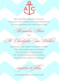 Aqua and Coral Wedding Invitation