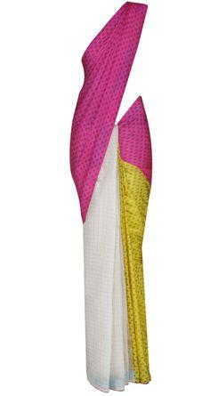 Ivory, yellow and pink sari with tassels by ANUPAMAA DAYAL. Shop at https://www.perniaspopupshop.com/whats-new/anupamaa-dayal-22