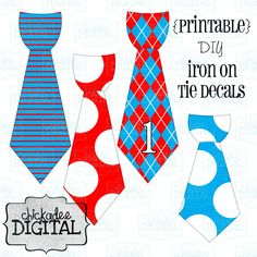 Dr. Seuss Themed Birthday Printable DIY Iron On Tie Decals, baby boys, toddler boys, printable ties, Iron on ties for onesies and tshirts. $6.75, via Etsy.