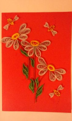 Flowers quilling postcard