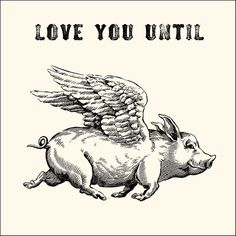 Love You Until (Pigs Fly) Notecard by Sugarboo Designs This is a fun way to say you will love someone forever... or until pigs fly, whichever comes first.