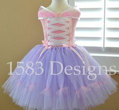 Pink Lavender White Princess Tutu Dress - All child sizes - Bows Tiara Crown - Birthday photo prop vacation gift by 1583Designs tulle purple disney