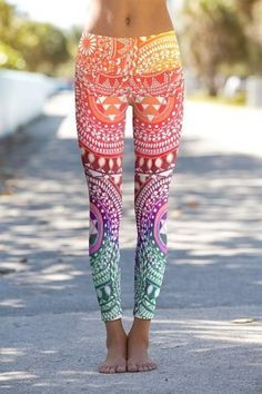 Love the yoga pants, everyone needs a pop of color. The trick is not to make yourself look like a rainbow threw up on you.