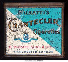 Muratti Chantecler cigarettes tin, back - Stock Image