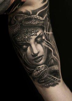 Portrait tattoo done by Raul Mumia Felix God Tattoos, Skull Tattoos, Body Art Tattoos, Sleeve Tattoos, Tattoos For Guys, Tatoos, Greek Goddess Tattoo, Greek God Tattoo, Greek Mythology Tattoos