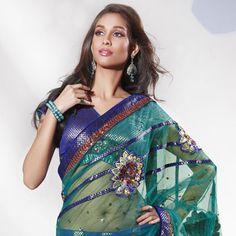 Ravishing Green Net Lehenga Style Saree with Blouse