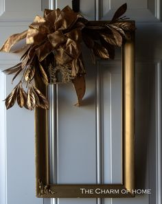 The Charm of Home: Picture Frame Wreath. would be nice w/Christmas print or picture