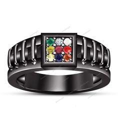 Multi-Color CZ 10k B/Gold Plated .925 Square Shape Navratna Men's Band Ring 7 8…