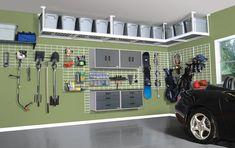 Hang shelves for added garage storage