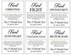 Marriage Firsts Wine Labels Milestones Married by GoldenBudDesigns