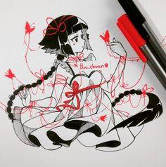 "Random girl, ""inked with pen staedtler (red and black)""<---- read please… Anime Drawings Sketches, Anime Sketch, Manga Drawing, Manga Art, Cool Drawings, Character Art, Character Design, Estilo Anime, Marker Art"
