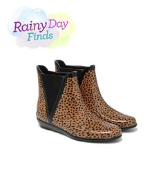 Proof that rain boots don't have to be big and unwieldy: These lynx-print rubber booties let you slink through the rain in style. Added bonus? The slip-on fit means you can easily remove them once you're inside—not that you have to.